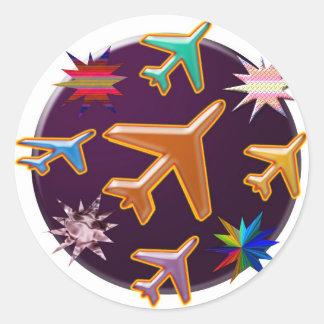 Vliegtuigen Ronde Sticker