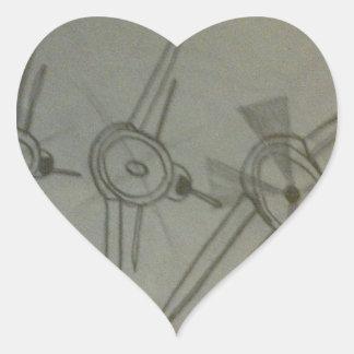 Vliegtuigen tijdens de vlucht hartvormige sticker