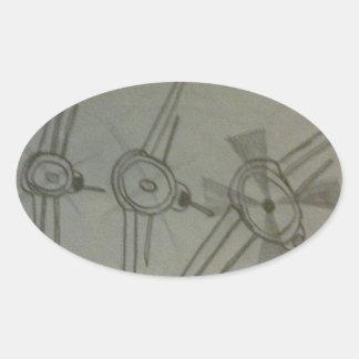 Vliegtuigen tijdens de vlucht ovaalvormige sticker