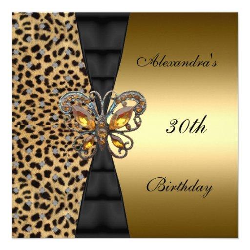 Vlinder 2 van de Verjaardag van de luipaard gouden Persoonlijke Aankondiging