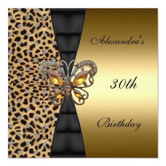 Vlinder 2 van de Verjaardag van de luipaard gouden 13,3x13,3 Vierkante Uitnodiging Kaart