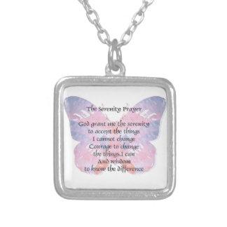 Vlinder 2 van het Gebed van de sereniteit Zilver Vergulden Ketting