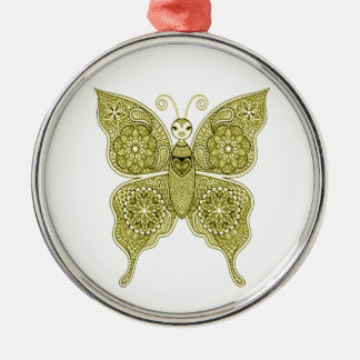 Vlinder 4 zilverkleurig rond ornament