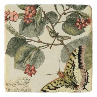 Vlinder en Libel met Rode Bloemen Trivet