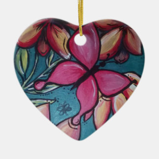 Vlinder en zonnebloem keramisch hart ornament