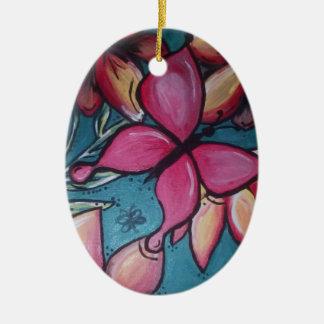 Vlinder en zonnebloem keramisch ovaal ornament