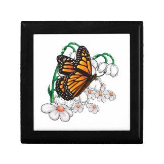 Vlinder op bloemen decoratiedoosje