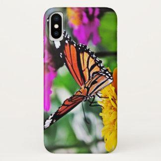 Vlinder op Bloemen iPhone X Hoesje