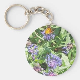 Vlinder op Paarse Coneflower Sleutelhanger