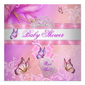 Vlinder van de Prinses van het Meisje van het baby 13,3x13,3 Vierkante Uitnodiging Kaart