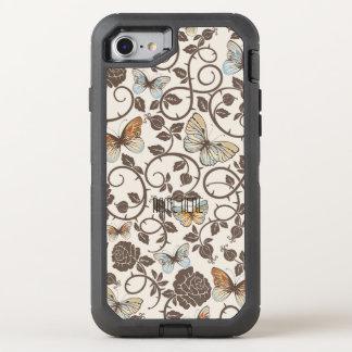 Vlinders en Rozen op Room OtterBox Defender iPhone 8/7 Hoesje