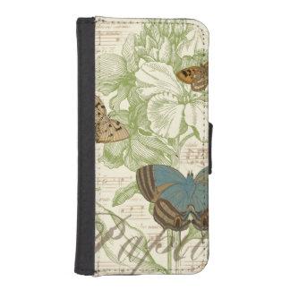 Vlinders op de Muziek van het Blad met iPhone 5 Portemonnee Hoesjes