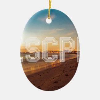 Vlucht aan het strandontwerp keramisch ovaal ornament