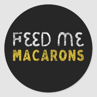 Voed me macarons ronde sticker