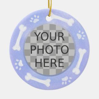 Voeg de Foto van Uw Hond toe: Bot en Pawprints Rond Keramisch Ornament