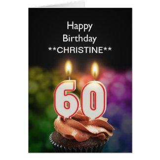 Voeg een naam, 60ste verjaardagskaart toe briefkaarten 0
