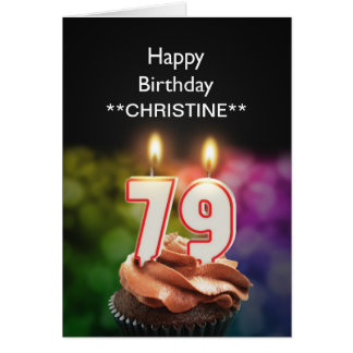 Voeg een naam, 79ste verjaardagskaart toe briefkaarten 0
