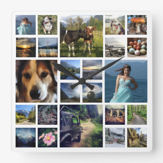 Voeg enkel Douane 24 van Foto's de Collage van het Vierkante Klok