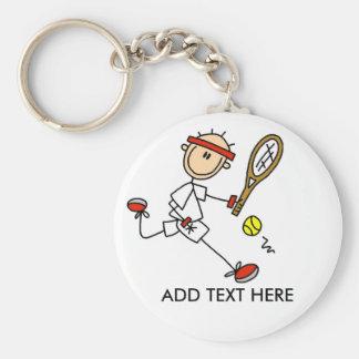 Voeg het Klantgerichte Tennis Keychain van de Teks Basic Ronde Button Sleutelhanger
