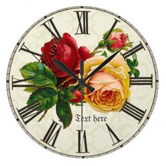 Voeg naam aan de sjofele elegante vintage bloemen grote klok