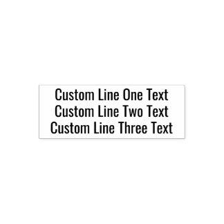 Voeg uw favoriete Tekst toe - Drie Lijnen zonder Zelfinktende Stempel