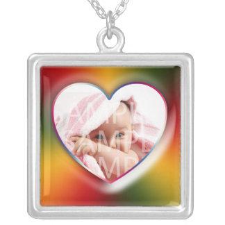 voeg uw foto, rooskleurige kleur toe, lijst ketting vierkant hangertje