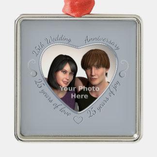 Voeg Uw Foto toe 25 Jaar van Huwelijk Zilverkleurig Vierkant Ornament