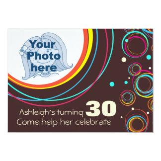 Voeg uw foto toe funky 30ste verjaardag uitnodigt 12,7x17,8 uitnodiging kaart