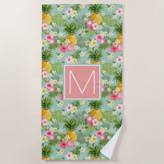 Voeg Uw Monogram | Tropische toe Bloemen & Strandlaken