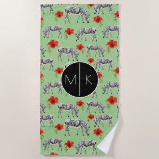 Voeg Uw Monogram | Zebras toe onder de Bloemen van Strandlaken