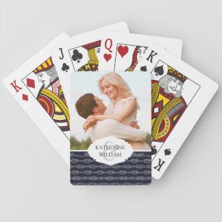 Voeg Uw Naam   het Mariene toe Patroon van Knopen Pokerkaarten