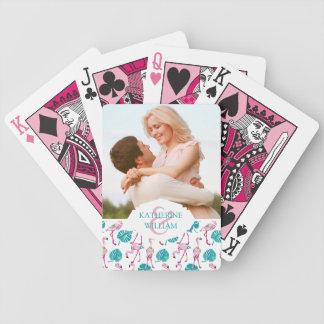 Voeg Uw Naam | Roze toe Flamingo's Bicycle Speelkaarten