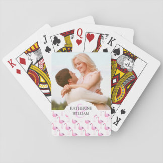 Voeg Uw Naam | Roze toe Flamingo's Speelkaarten