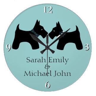 Voeg Uw Namen toe: Romantische Honden Scottie Grote Klok