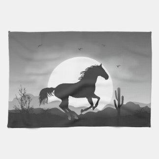 Voeg Uw Paard van de Tekst in Zwart-wit Silhouet Theedoek