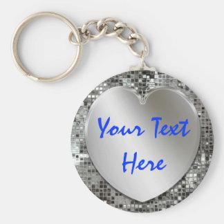 Voeg Uw Zilveren Hart Keychain van de Tekst toe Basic Ronde Button Sleutelhanger