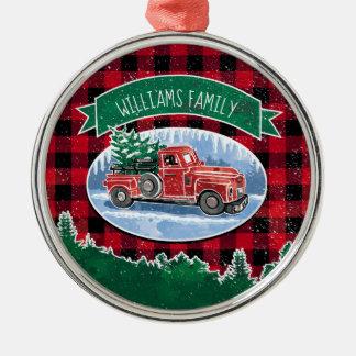 Voegt de Vintage Vrachtwagen van Kerstmis Naam toe Zilverkleurig Rond Ornament