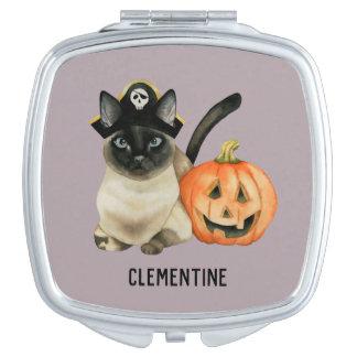Voegt Siamese Kat | van Halloween Uw Naam toe Makeup Spiegeltje