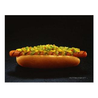 Voet-lange hotdog met saus en mosterd briefkaart