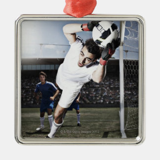 Voetbal die goalie voetbalbal vangen zilverkleurig vierkant ornament