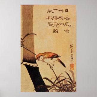 Vogel en bamboe, c.1830, poster