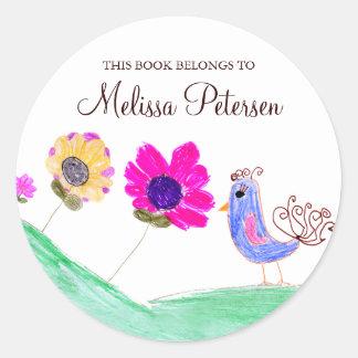 Vogel en Bloemen Bookplates Ronde Sticker