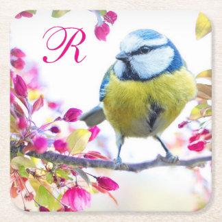 Vogel en het Roze Monogram van Bloesems Vierkante Onderzetter