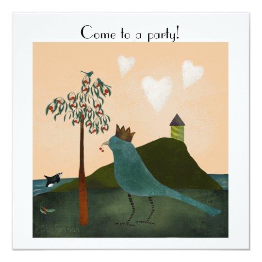 Vogel en orka met kersenboom door het zee 13,3x13,3 vierkante uitnodiging kaart