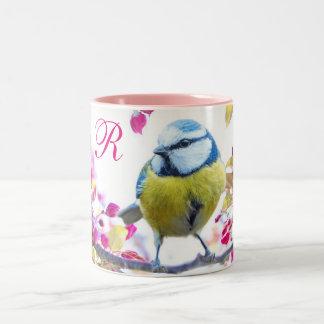 Vogel en Roze Bloesems Tweekleurige Koffiemok