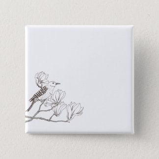 Vogel op een Knoop van de Speld van de Schets van Vierkante Button 5,1 Cm