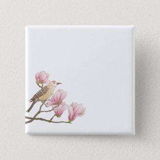 Vogel op een Roze Knoop van de Speld van de Schets Vierkante Button 5,1 Cm