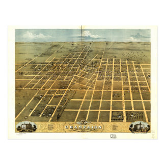 Vogelperspectief van Open vlakte Illinois (1869) Briefkaart