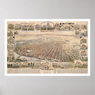Vogelperspectief van Sacramento, Californië (1293) Poster