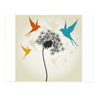 Vogels een flower3 briefkaart